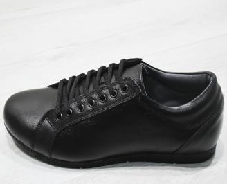 Мъжки спортно елегантни обувки естествена кожа черни ZLOX-23476