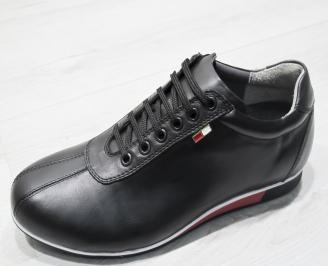 Мъжки спортно елегантни обувки естествена кожа черни BWPT-23484