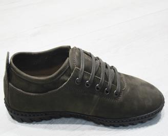 Мъжки спортно елегантни обувки естествен набук тъмно бежово IJVW-23486