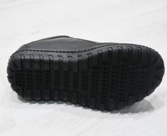 Мъжки спортно елегантни обувки естествена кожа черни DFCO-23487