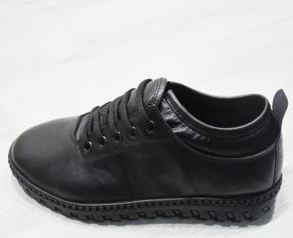 Мъжки спортно елегантни обувки естествена кожа черни WPNS-23489