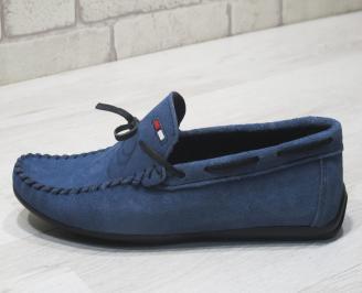 Мъжки спортно елегантни обувки велур сини VSNK-24075