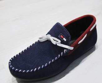 Мъжки спортно елегантни обувки велур сини OGAF-24076