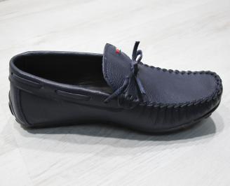 Мъжки спортно елегантни обувки естествена кожа тъмно сини PWSU-24077