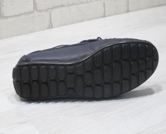 Мъжки спортно елегантни обувки естествена кожа тъмно сини 4