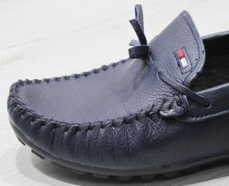 Мъжки спортно елегантни обувки естествена кожа тъмно сини 5
