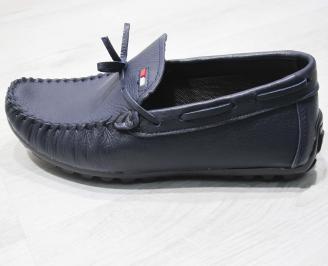 Мъжки спортно елегантни обувки естествена кожа тъмно сини 6