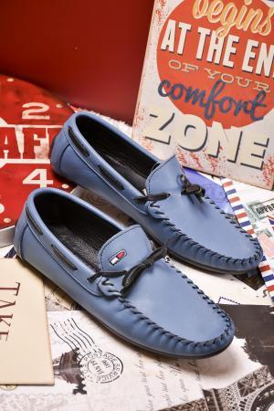 Мъжки спортно елегантни обувки естествена кожа  сини PBCE-24080