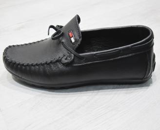Мъжки спортно елегантни обувки естествена кожа черни TQAD-24081