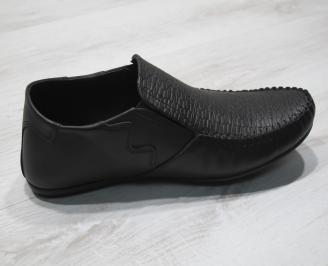 Мъжки спортно елегантни  обувки естествена кожа черни KZWW-24296