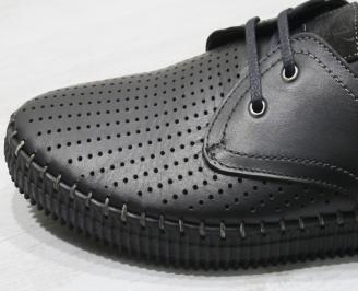 Мъжки спортно елегантни  обувки естествена кожа черни JUOW-24299