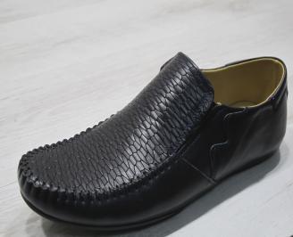 Мъжки спортно елегантни  обувки естествена кожа тъмно сини COQU-24302