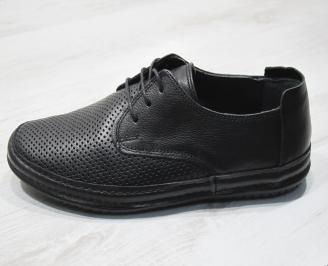 Мъжки спортно елегантни  обувки естествена кожа черни BWKG-24304