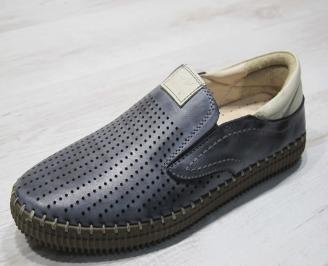 Мъжки спортно елегантни  обувки естествена кожа тъмно сини NSJM-24308