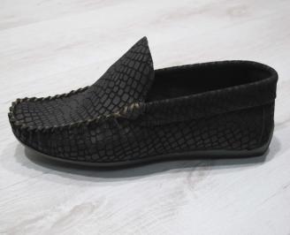 Мъжки спортно елегантни  обувки естествена кожа черни BAUD-24313