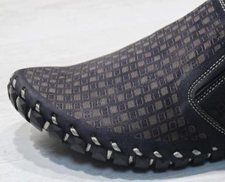 Мъжки спортно елегантни  обувки естествена кожа  тъмно сини YLYK-24493