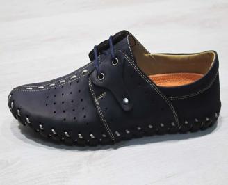 Мъжки спортно елегантни  обувки естествена кожа  тъмно сини LYPH-24494