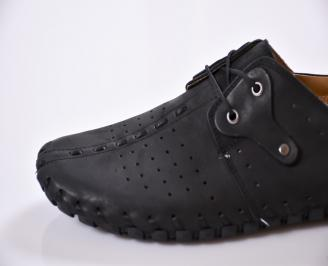 Мъжки спортно елегантни  обувки естествена кожа черни PEVH-24495