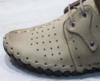 Мъжки спортно елегантни  обувки естествена кожа бежови YOEX-24497