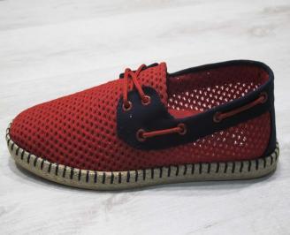 Мъжки спортно елегантни  обувки текстил червени RRQV-24499