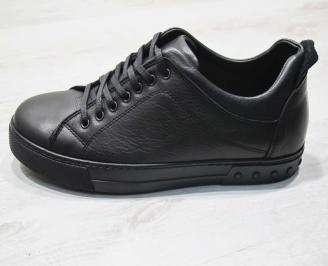 Мъжки спортно елегантни  обувки естествена кожа черни UVBA-24501