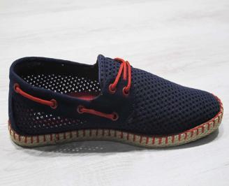 Мъжки спортно елегантни  обувки текстил сини NDUT-24502