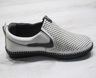 Мъжки спортно елегантни  обувки естествена кожа бели VKCE-24504