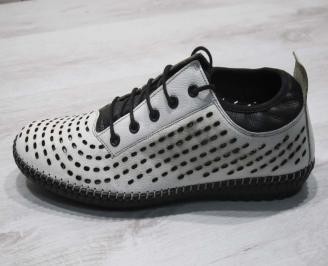 Мъжки спортно елегантни  обувки естествена кожа бели GEEI-24506
