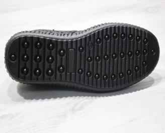 Мъжки спортно елегантни  обувки естествена кожа черни BOOP-24508