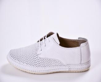 Мъжки спортно елегантни  обувки естествена кожа бели QBPR-24509