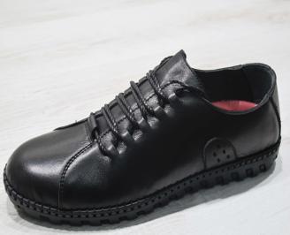 Мъжки спортно елегантни  обувки естествена кожа черни AOMR-24510