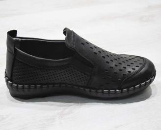 Мъжки спортно елегантни  обувки естествена кожа черни PZMC-24511