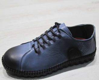 Мъжки спортно елегантни  обувки естествена кожа  тъмно сини NNLF-24512