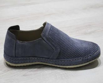 Мъжки спортно елегантни  обувки естествена кожа  тъмно сини KZJZ-24612