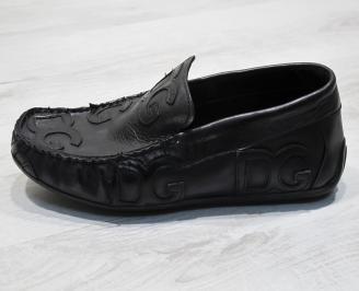 Мъжки спортно елегантни  обувки естествена кожа черни QRAL-24833