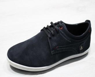 Мъжки спортно елегантни обувки естествен велур сини XEJE-25013