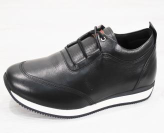Мъжки спортно елегантни  обувки естествена кожа черни WHIE-25243
