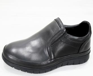 Мъжки спортно елегантни  обувки естествена кожа черни UCEO-25252