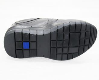 Мъжки спортно елегантни  обувки естествена кожа черни PINY-25253
