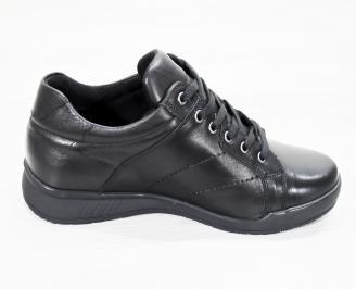 Мъжки спортно елегантни  обувки естествена кожа черни QFJU-25255