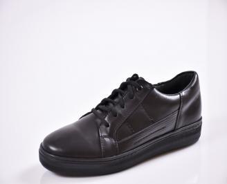 Мъжки спортно елегантни обувки естествена кожа черни AYJD-26555