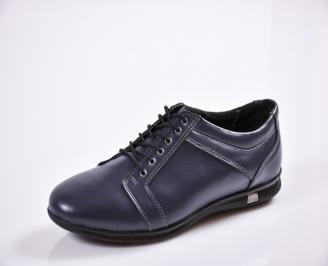 Мъжки спортно елегантни обувки естествена кожа сини PBBR-26556