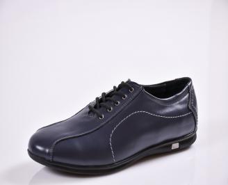 Мъжки спортно елегантни обувки естествена кожа сини JXCI-26557