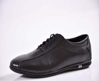 Мъжки спортно елегантни обувки естествена кожа черни UGUH-26558