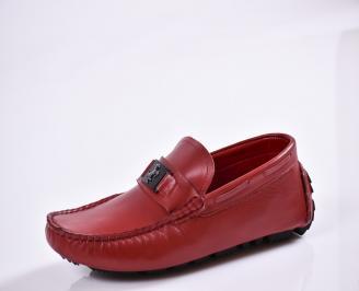 Мъжки спортно елегантни  обувки естествена кожа червени QMSK-27009