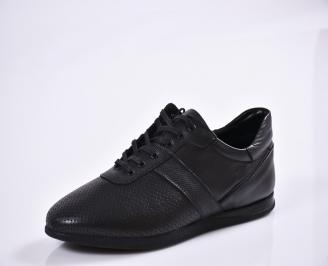 Мъжки спортно елегантни  обувки естествена кожа черни SSKL-27010