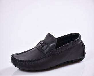 Мъжки спортно елегантни  обувки естествена кожа черни UYCA-27011