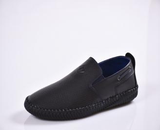 Мъжки спортно елегантни  обувки естествена кожа черни OBYU-27012