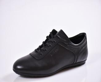 Мъжки спортно елегантни  обувки естествена кожа черни SKGT-27013