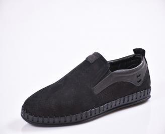 Мъжки спортно елегантни  обувки естествена кожа черни IYCE-27014